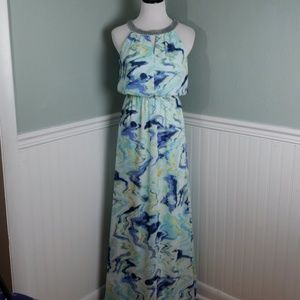 Vince Camuto Embellished Halter Watercolor Maxi